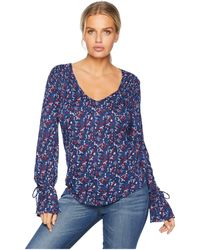Lucky Brand - Tie Sleeve Top (red Multi) Women's Long Sleeve Pullover - Lyst