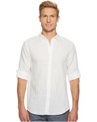 Perry Ellis - Rolled-sleeve Solid Linen Cotton Shirt - Lyst