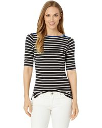 c37baca9f2473 Lauren by Ralph Lauren - Stretch Cotton Boat Neck Top (polo Black silk White