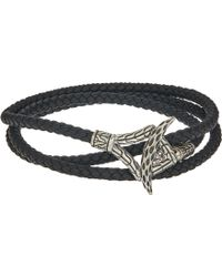 John Hardy - Legends Naga Triple Wrap Bracelet In Black Leather (silver) Bracelet - Lyst