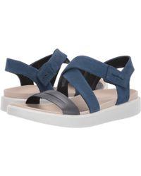 Ecco - Flowt Cross Sandal (marine/true Navy Cow Leather/cow Nubuck) Women's Sandals - Lyst
