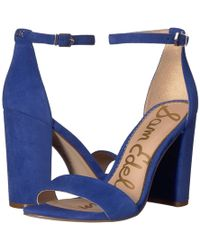 Sam Edelman - Yaro Ankle Strap Sandal Heel (luggage Kid Suede Leather) Women's Dress Sandals - Lyst