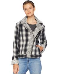 Two By Vince Camuto - Brushed Plaid Sherpa Trim Moto Jacket (rich Black) Women's Coat - Lyst