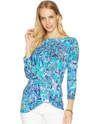 41149ff9b79f3 Lilly Pulitzer - Maci Top (bright Navy Pineapple Party) Women s Clothing -  Lyst