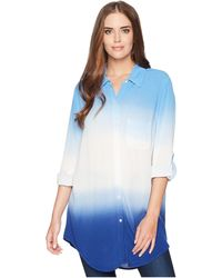 Green Dragon - Dip-dyed Crinkle Gauze Big Sur Boyfriend Shirt (indigo) Women's Clothing - Lyst