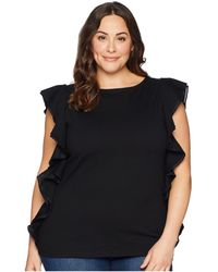 Lauren by Ralph Lauren - Plus Size Ruffle Cotton Top (polo Black) Women's Clothing - Lyst