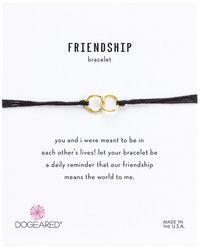 Dogeared - Friendship Double Linked Rings Silk Bracelet (black/gold Dipped) Bracelet - Lyst