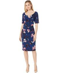 Adrianna Papell - Vintage Floral Vine Short Sleeve Dress (navy Multi) Women's Dress - Lyst