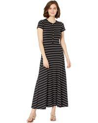 Lauren by Ralph Lauren - Jersey Striped Maxi Dress (polo Black/silk White) Women's Dress - Lyst