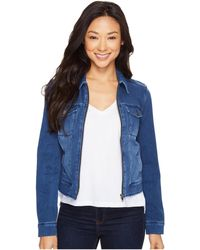 Liverpool Jeans Company - Denim Zip Jacket In Powerflex Knit Denim (indigo Medium Wash) Women's Coat - Lyst