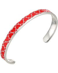 ALEX AND ANI - Color Infusion Cuff, Heart Bracelet (red/shiny Silver) Bracelet - Lyst