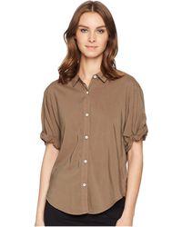 Splendid - Cotton Voile Short Sleeve Boyfriend Shirt (military Olive) Women's Clothing - Lyst