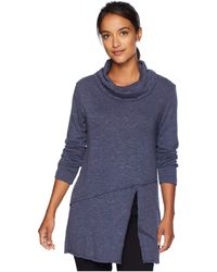 Mod-o-doc - Slubby Sweater Knit Cowl Neck Asymmetrical Front Slit Tunic (navy) Women's Sweater - Lyst