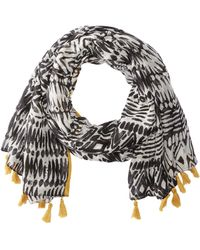 San Diego Hat Company - Bss1740 Woven All Over Print With Tassel (black) Scarves - Lyst