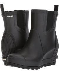 Sorel - Joan Rain Wedge Chelsea (black/sea Salt) Women's Waterproof Boots - Lyst