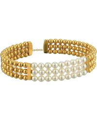 Majorica - 4mm Round Pearls On Gold Plated Steel Beaded Bangle With Security Chain (white) Bracelet - Lyst