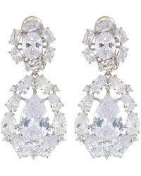 Nina - Small Cz Cluster Teardrop Clip Earrings (rhodium/light Blue Crystal/white Cz) Earring - Lyst