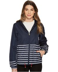 Vince Camuto - Hooded Short Parka With Contrast Stripes (white) Women's Coat - Lyst
