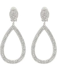 Nina - Open Teardrop Pave Clip; Elements Of Sarovski (rhodium/white) Earring - Lyst