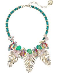 Betsey Johnson - Colorful Palm Leaf Statement Necklace (green) Necklace - Lyst