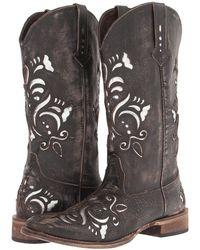 Roper - Laser Cut Metallic Underlay Boot (tan/silver) Cowboy Boots - Lyst