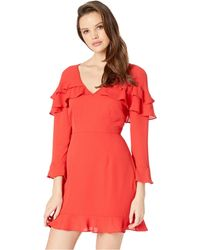 Jack BB Dakota - Love The Nightlife Crepe De Chine Ruffle Dress (cherry Red) Women's Dress - Lyst