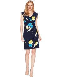 Lauren by Ralph Lauren - Galleria Floral Matte Jersey - Adara Dress (lighthouse Navy/tumeric/multi) Women's Dress - Lyst