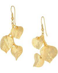 Kenneth Jay Lane - Satin Gold 3 Leaf Fish Hook Earrings (gold) Earring - Lyst