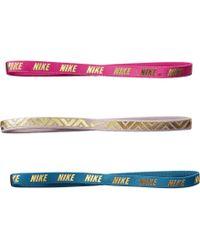 Nike - Metallic Hairbands 3-pack (noise Aqua/particle Rose/hyper Magenta) Hair Accessories - Lyst