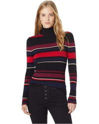 Cupcakes And Cashmere - Herrick Turtleneck Striped Top (black) Women's Clothing - Lyst