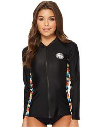 Rip Curl - Beach Bazaar Zip Through Long Sleeve (black) Women's Swimwear - Lyst