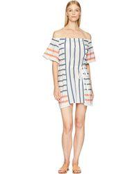 Letarte - Stripe Off The Shoulder Dress Cover-up (multi Stripe) Women's Swimwear - Lyst