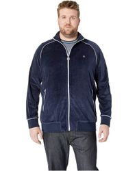 Original Penguin - Big Tall The Earl Velour Track Jacket (dark Sapphire) Men's Clothing - Lyst