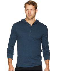 Threads For Thought - Tri-blend Jersey Henley Hoodie (midnight) Men's Sweatshirt - Lyst