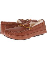 714272be9 Minnetonka - Sheepskin Lined Moose Slipper (chocolate Moose) Men s Moccasin  Shoes - Lyst