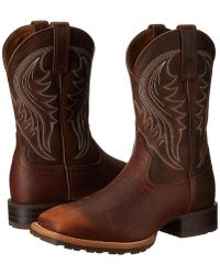 Ariat - Hybrid Rancher (brown Oiled Rowdy) Cowboy Boots - Lyst