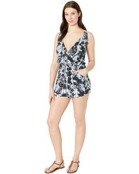 293296ae0532 Lucky Brand - V-neck Shoulder Tie Swimwear Cover Up Romper - Lyst