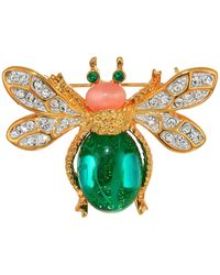 Kenneth Jay Lane - Gold Two-tone Rhine Crystal Emerald Cabochon Body Pink Cab Head Bee Pin (emerald/pink) Brooches Pins - Lyst