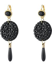 Kenneth Jay Lane - Small Top/round Carved Bottom W/ Drop Earrings (black) Earring - Lyst