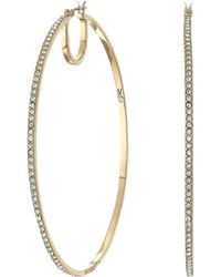 Vince Camuto - 65 Mm Pave Hoop Earrings (rhodium/crystal) Earring - Lyst