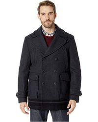 Calvin Klein - Wool Peacoat With Color Blocked Hem (charcoal) Men's Coat - Lyst