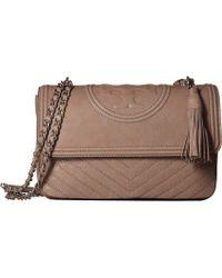 5ba23e0b6fe9 Tory Burch - Fleming Distressed Flap Shoulder Bag (taupe) Handbags - Lyst