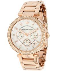 Michael Kors - Mk5491 - Parker Chronograph (rose Gold Ip) Analog Watches - Lyst