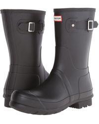 HUNTER - Original Short Rain Boots (dark Slate) Men's Rain Boots - Lyst