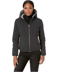 Save The Duck - Short Hooded Reversible Jacket (black) Women's Coat - Lyst