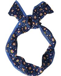 Tory Burch - Wild Pansy Silk Twilly (blue Wild Pansy) Scarves - Lyst