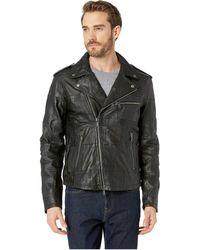 John Varvatos - Leather Biker Jacket - Lyst