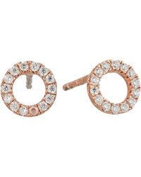 Shashi - Circle Pave Stud Earrings (rose Gold/crystal) Earring - Lyst