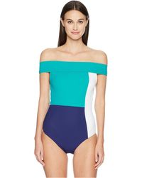 Flagpole Swim - Gia One-piece (navy/white/seagreen) Women's Swimsuits One Piece - Lyst