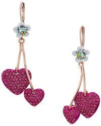 Betsey Johnson - Fuchsia Double Heart Drop Earrings - Lyst